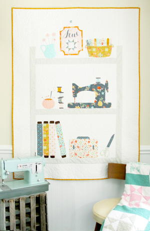 Sweet Sewing Shelves Applique Quilt