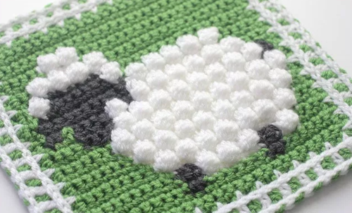 Bobble Stitch Sheep Granny Square Allfreecrochetafghanpatterns