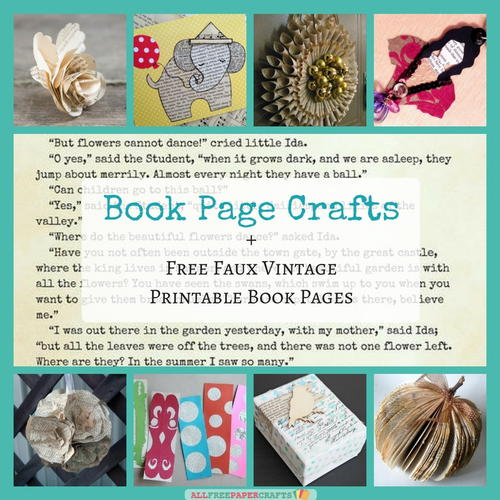 26 Book Page Crafts Free Faux Vintage Printable Pages