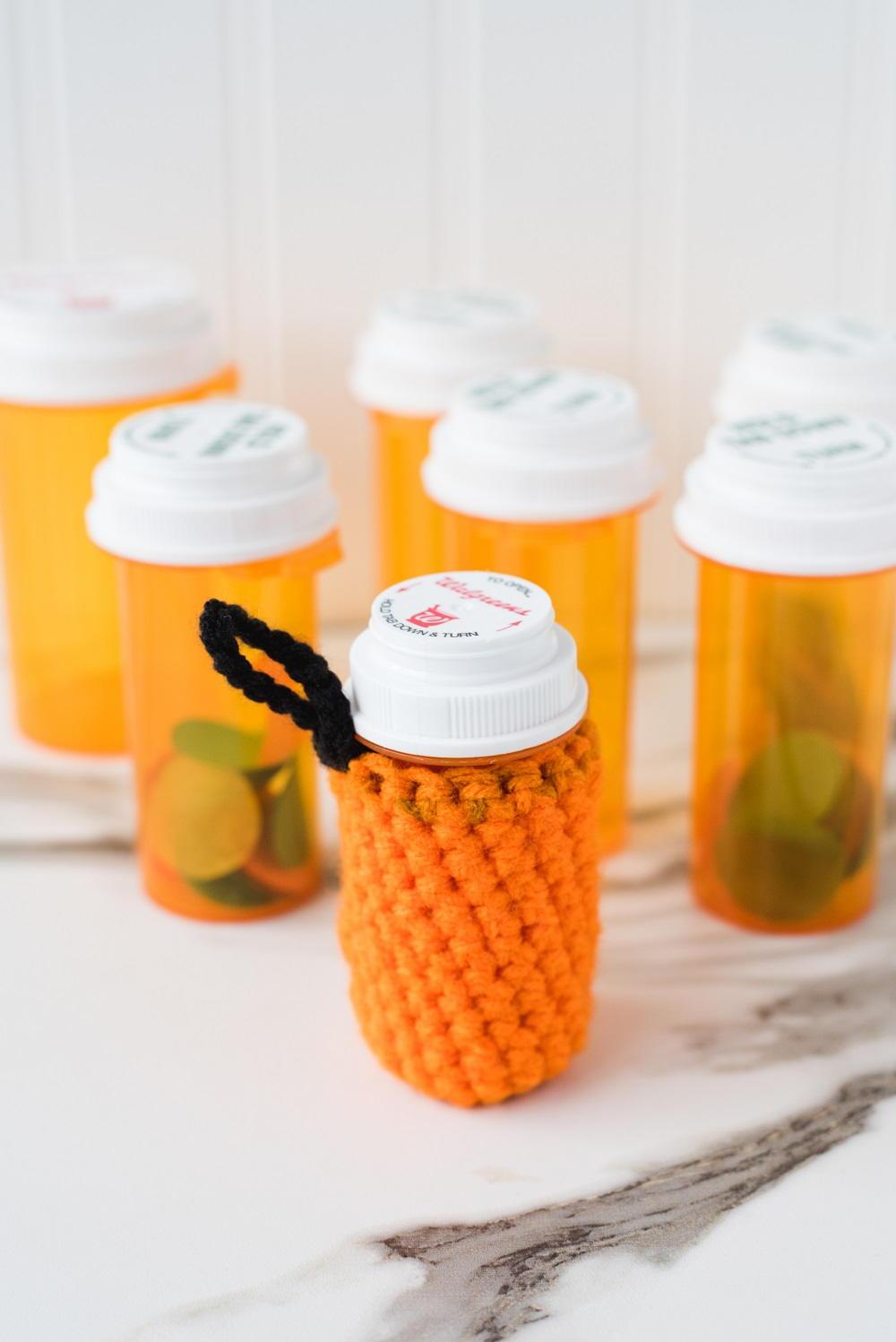 Crochet Pill Bottle Cozy Pattern | FaveCrafts.com