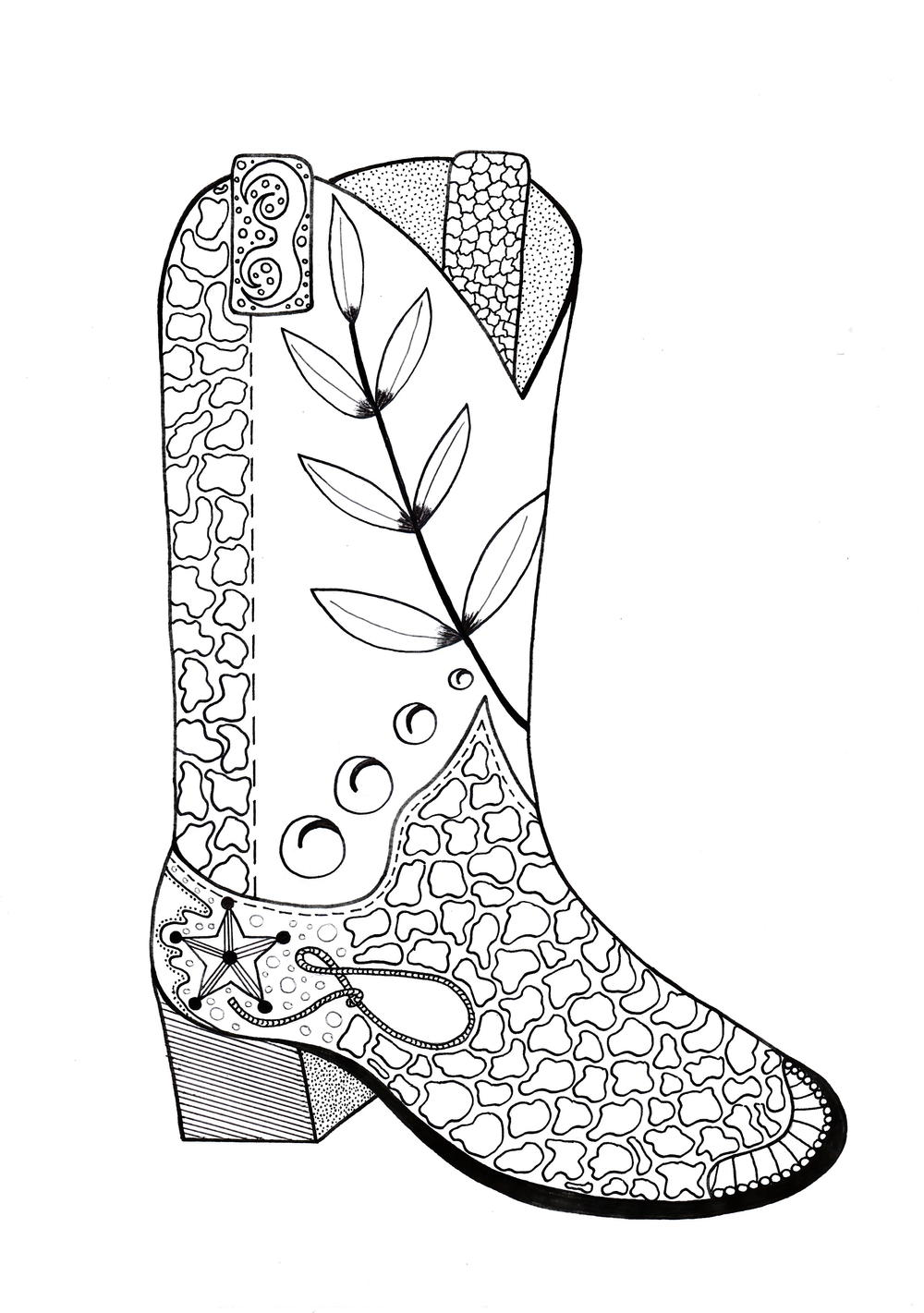 country boots coloring pages - photo#2
