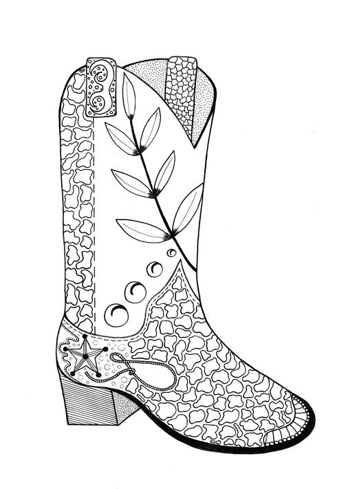 Cowboy Boot Adult Coloring Page Favecrafts Com