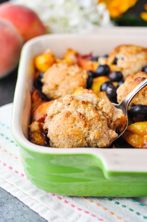 Healthy Blueberry Peach Cobbler