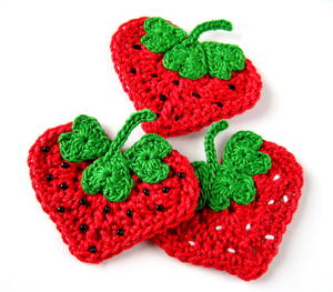 Crochet Heart Strawberry Appliqué