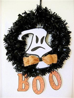 Trash Bag Halloween Wreath