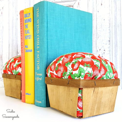 Vintage Berry Basket DIY Bookends