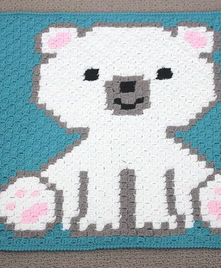 Polar Bear Crochet Baby Blanket Pattern