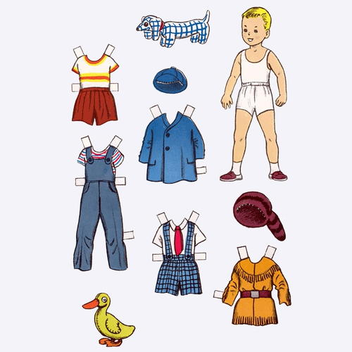 Children playing paper doll template for Large paper doll template