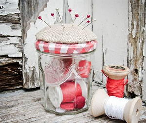 Pretty Pincushion Jar