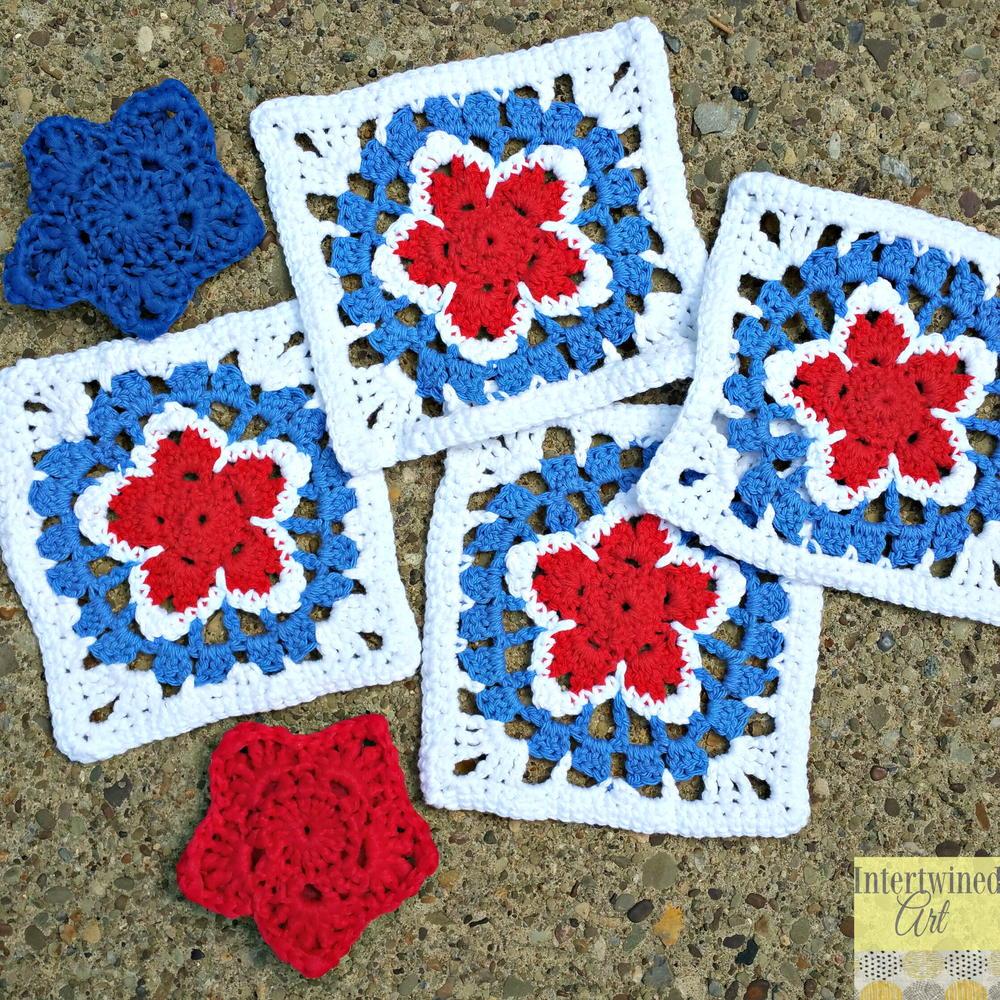 Patriotic Star Granny Square | AllFreeCrochet.com