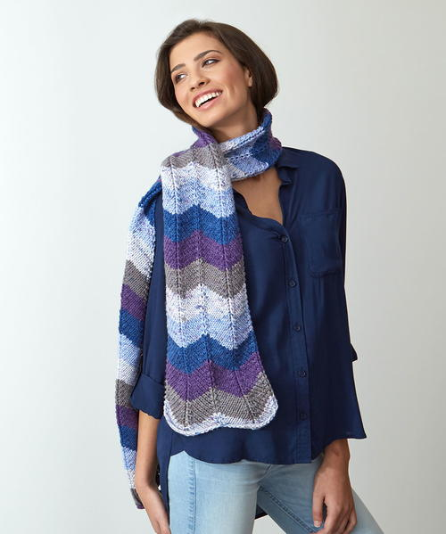 Bright Knitted Chevron Scarf
