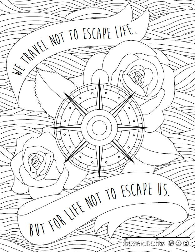 Travel Escape Adult Coloring Page