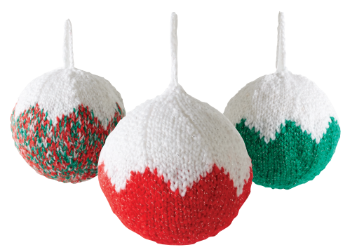 Festive knitted christmas ball ornaments allfreeknitting.com