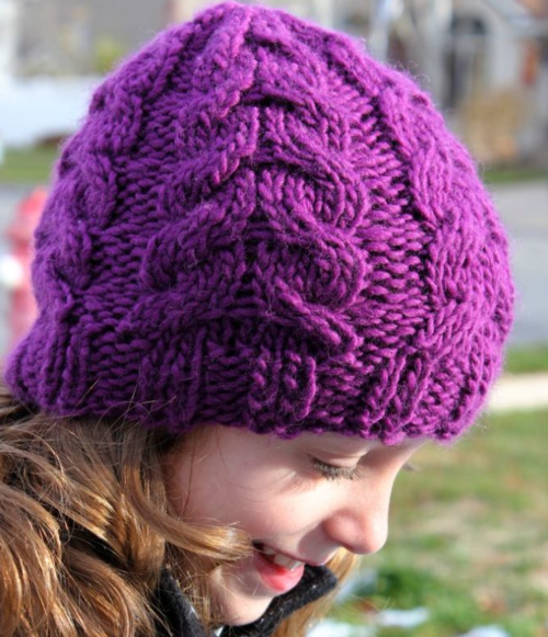 Warm And Chunky Cable Knit Hat Allfreeknitting