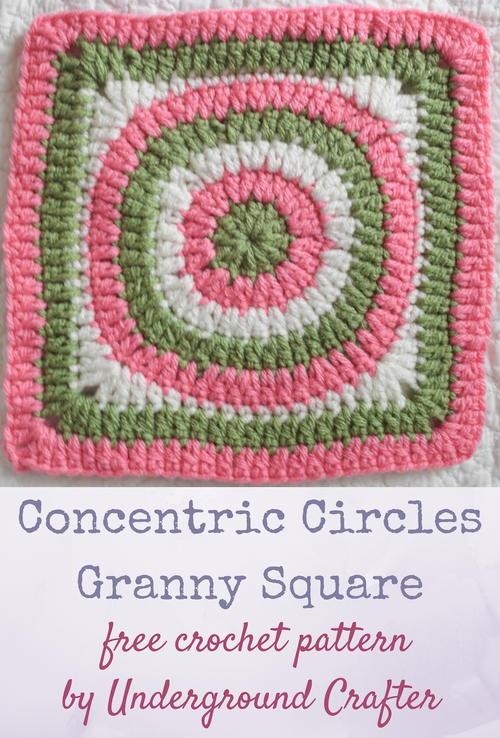 Concentric Circles Granny Square Allfreecrochetafghanpatterns