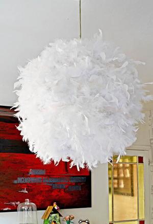 Glamorous feather lampshade