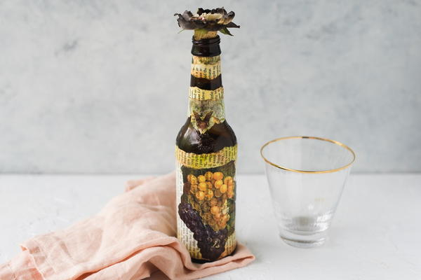 Beer Bottle Napkin Decoupage Technique