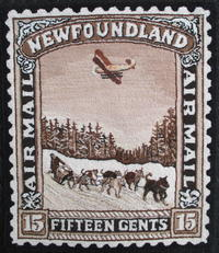 Plane & Dog Team: 1931 Newfoundland Stamp