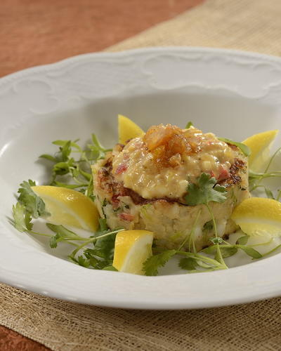 Spiny Lobster Hash Cakes with Piccalilli Tartar Sauce