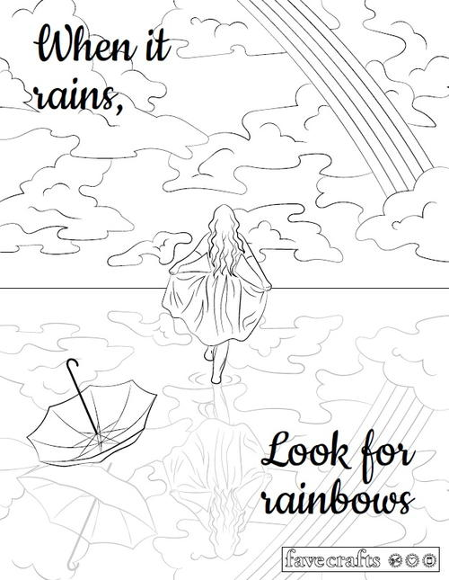 Look For Rainbows Adult Coloring Page