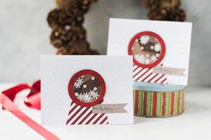 christmas snow globe shaker card tutorial favecrafts com