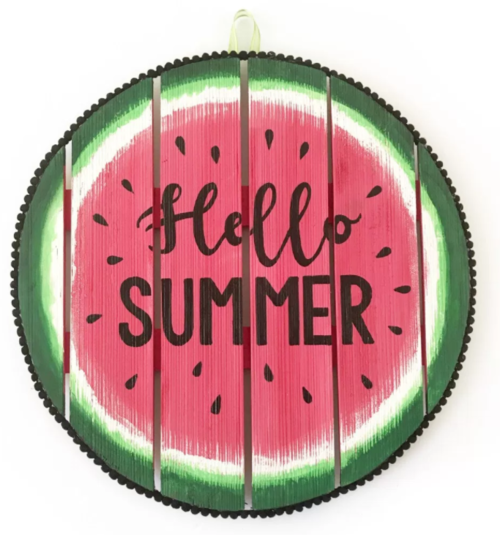 Hello Summer Watermelon Wood Sign