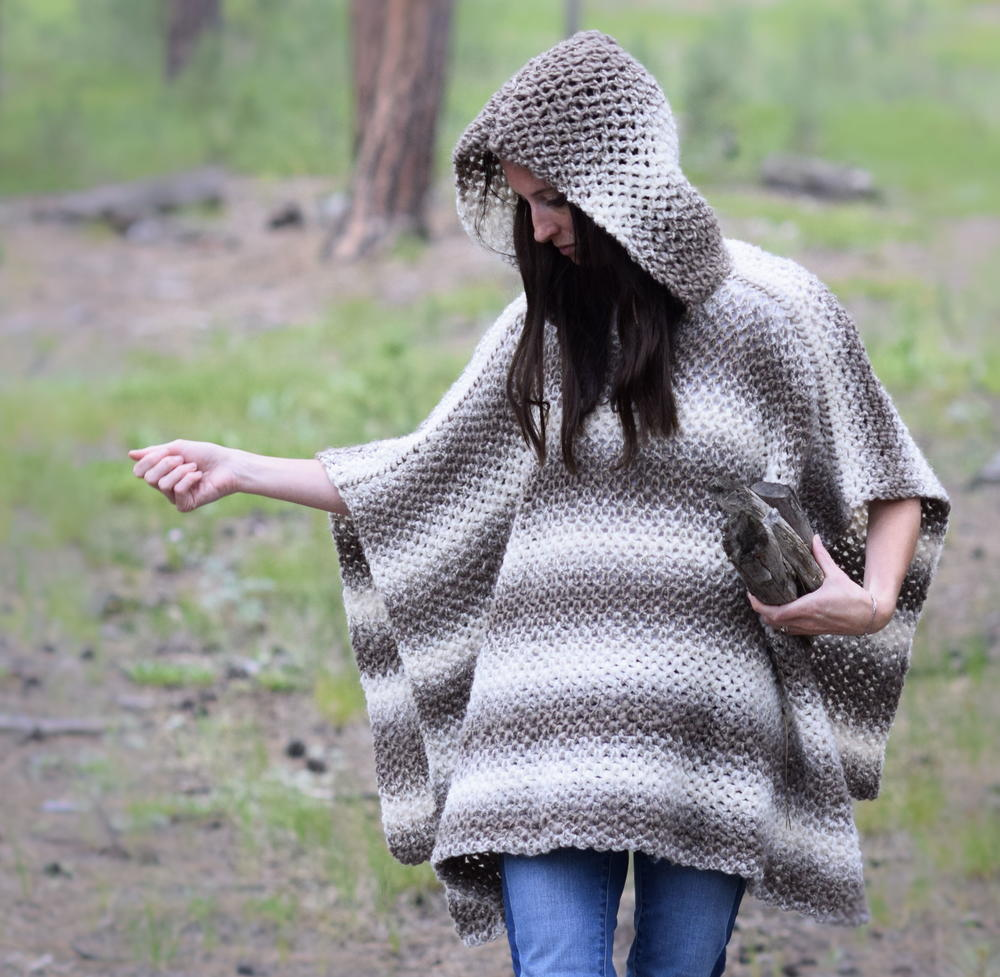 Driftwood Oversized Hooded Poncho | FaveCrafts.com
