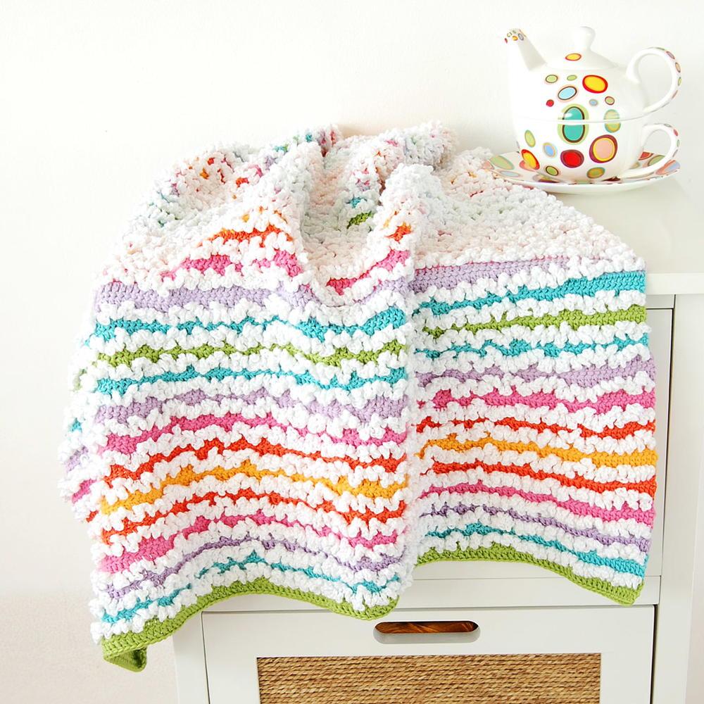 Rainbow Ruffle Blanket | AllFreeCrochet.com