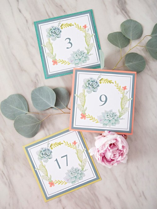 Printable Succulent Table Numbers