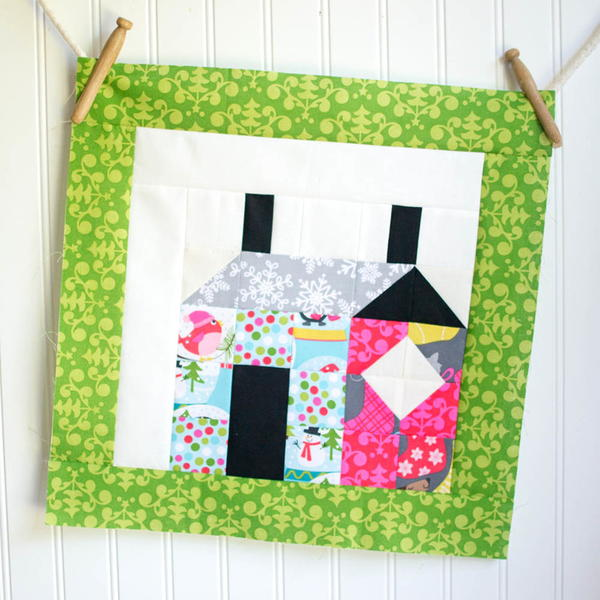 Patchwork House Christmas Quilt Block