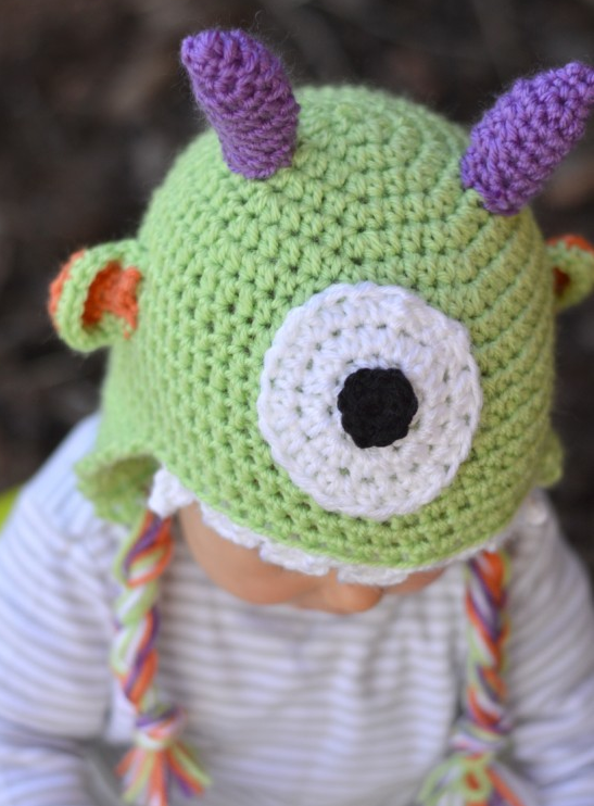 Crocheted Little Monster Baby Hat Pattern Allfreekidscrafts