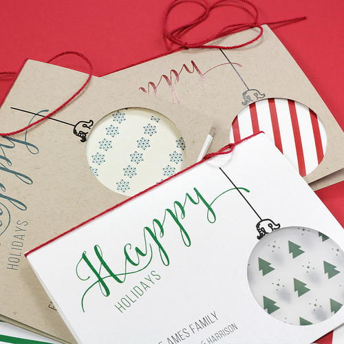 Simple, Customizable Ornament Cutout Cards
