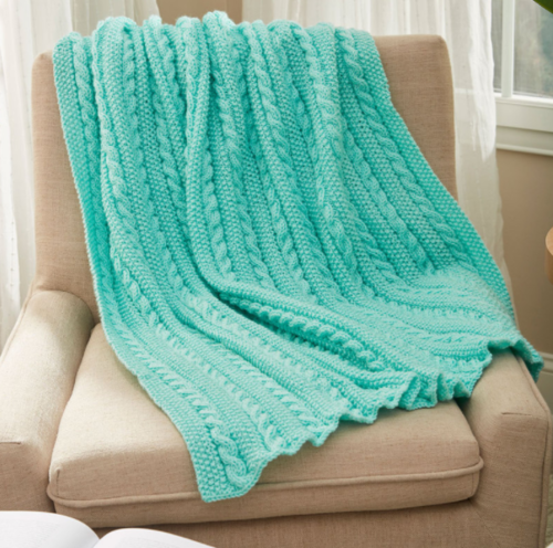 Easy Cable Knit Blanket Pattern Allfreeknitting Com
