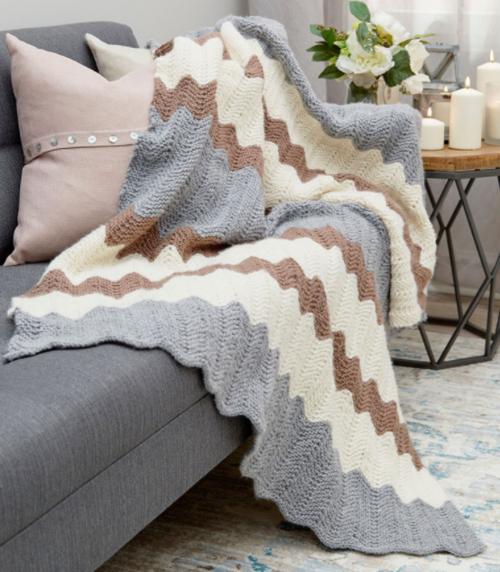 Calming Chevron Knit Blanket Pattern | AllFreeKnitting.com