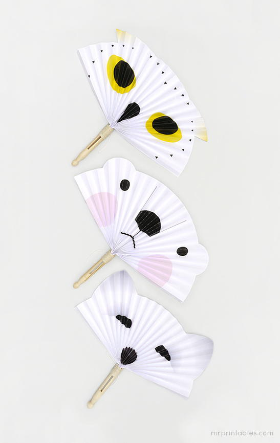 Arctic Animal Paper Fans