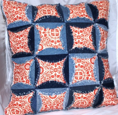 Denim Cathedral Window Pillow