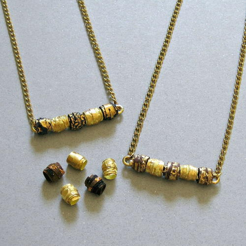 Metallic Paper Bead Necklace