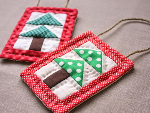 Bitty Trees Quilted Ornaments