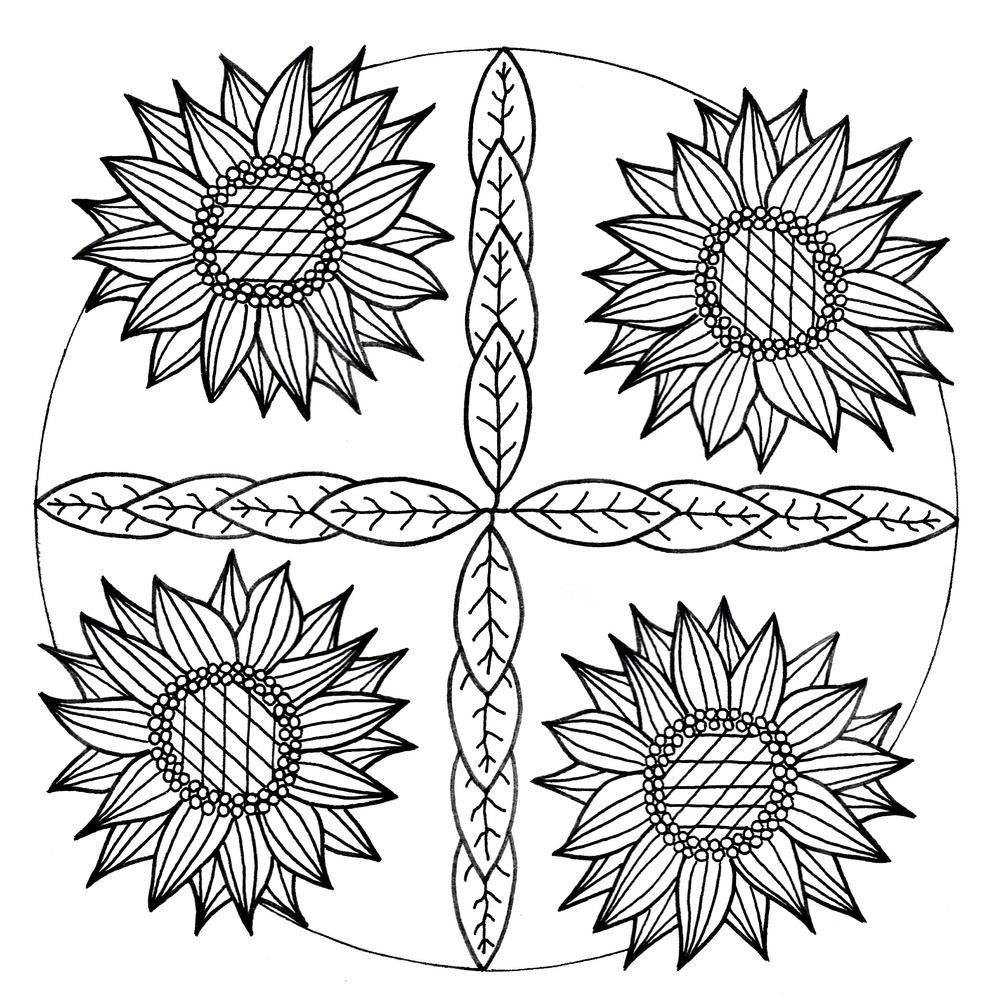 Mandala Inspired Sunflower Adult Coloring Page | FaveCrafts.com