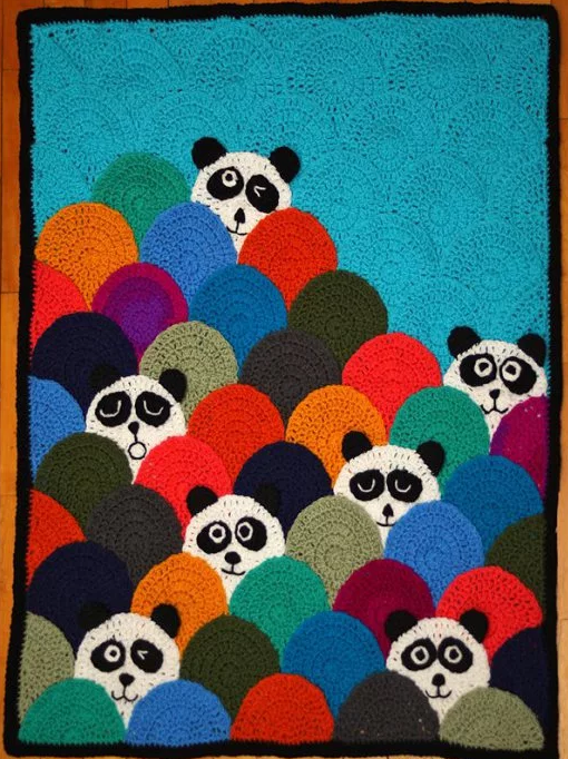 Peeking Pandas Crochet Circle Afghan Pattern