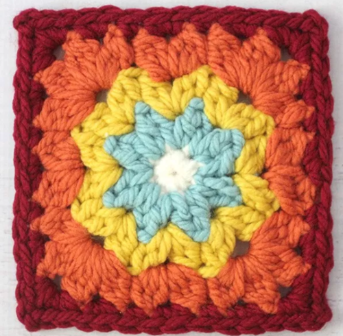 Autumn Rainbow Granny Square Pattern