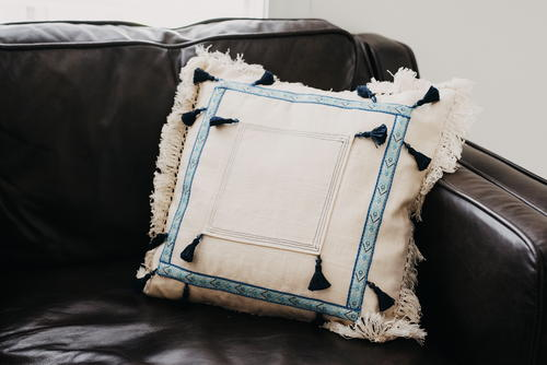 Tassel Pillow with Trim