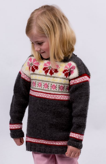 Girls Fair Isle Knit Sweater Pattern | AllFreeKnitting.com
