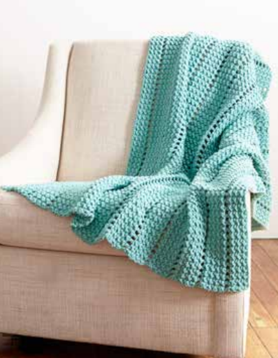 Striping Eyelets Easy Crochet Blanket Pattern