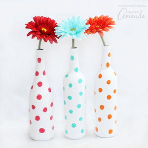 Polka Dot Wine Bottle DIY Vase