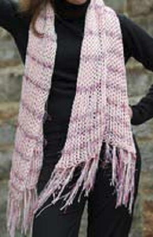 Pink, Openweave Scarf with Glitter Yarn
