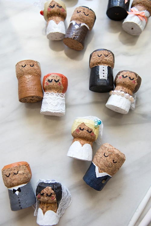 Champagne Cork Bride and Groom