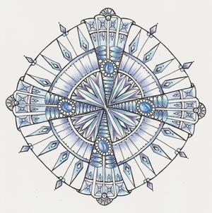 Diamonds And Ice Mandala Coloring Page