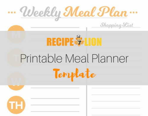 Printable Meal Planner Template Recipelion