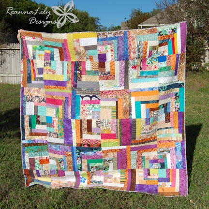 Quarter Square Log Cabin Scrap Quilt